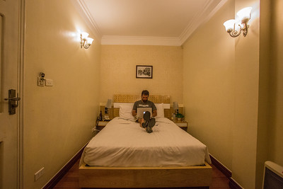 Working in a hotel room in Hanoi, Vietnam