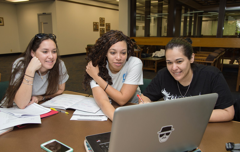 Students Marina Caballero, Sarai English and Laura Laurel work on their history and system capstone.