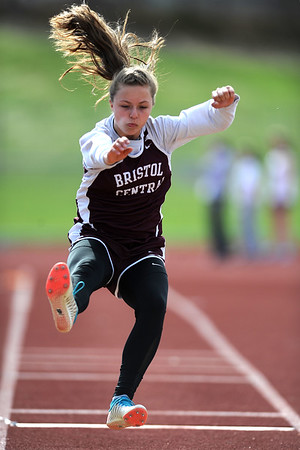 4/16/2019 Mike Orazzi | Staff Bristol Central's Gabriella Calfe in the long jump during Tuesday's track meet at Bristol Central High School.