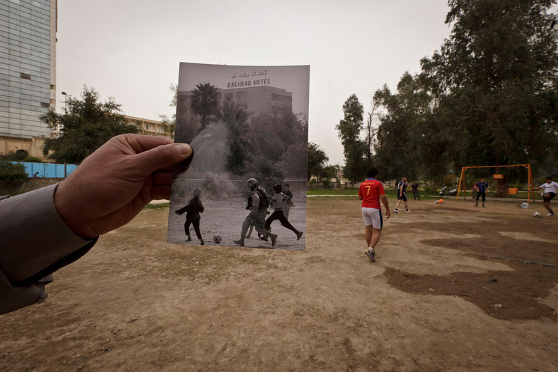 . Abu Nawas park in Baghdad, at the site of a photograph showing Iraqi orphans playing soccer with a U.S. soldier from the Third Infantry Division taken by photographer Maya Alleruzzo in April, 2003. The park that runs along Abu Nawas Street is now a popular destination for families who are drawn by the manicured gardens, playgrounds and restaurants famous for a fish called mazgouf. Ten years ago, the park was home to a tribe of children orphaned by the war and was rife with crime. Photo taken on March 12, 2013. (AP Photo/Maya Alleruzzo)