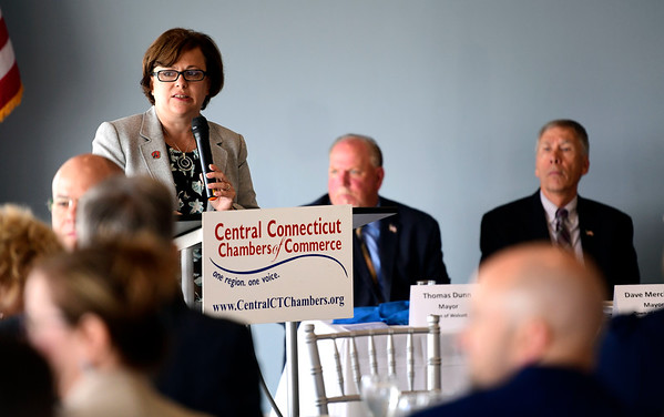 6/12/2019 Mike Orazzi | Staff Bristol Mayor Ellen Zoppo-Sassu during Wednesday morning's state of the city & towns breakfast hosted by the Central Connecticut Chambers of Commerce at Chippanee Golf Club in Bristol.