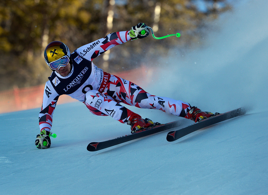 . BEAVER CREEK, CO - FEBRUARY 8: Marcel Hirscher of Austria runs the course at the Men\'s downhill portion of the Men\'s alpine combined race at the FIS Alpine World Ski Championships in Beaver, CO. February 8, 2015.  Herschel won the Men\'s Alpine combined race. (Photo By Helen H. Richardson/The Denver Post)