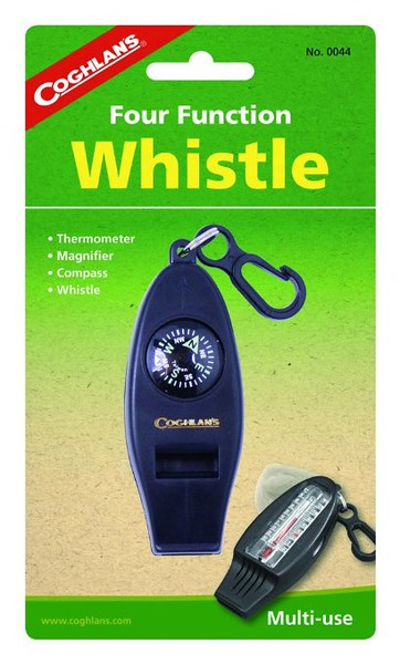 Coghlan's Four Function Whistle keeps you safe in the woods. Don't forget to bring it along on your boomer vacation this fall. #gear #travel