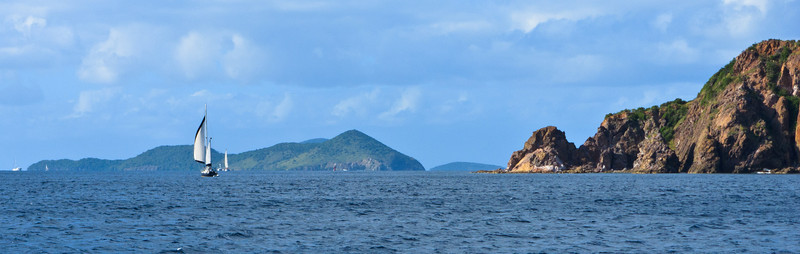 Sailboat off the southwestern coast of St John