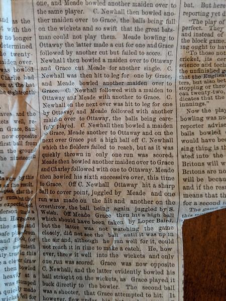 GW Grace Tour 1872 - Newspaper Articles