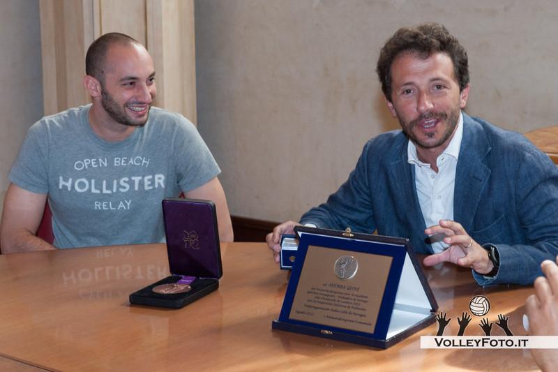 Premiazione in Comune a Perugia di Andrea Giovi, perugino medaglia di bronzo con la nazionale alle Olimpiadi di Londra 2012, libero della SIR Safety PERUGIA.