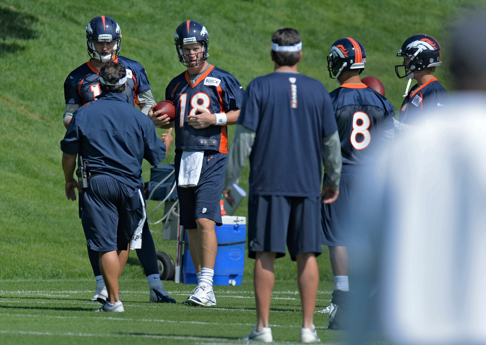 . Peyton Manning (18) of the Denver Broncos prepares for drills during the teams OTAs May 20, 2013 at Dove Valley. All offseason training activities (OTAs) are voluntary until the mandatory minicamp June 11-13. (Photo By John Leyba/The Denver Post)