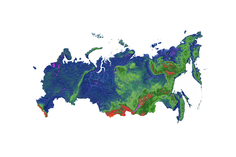 Elevation map of Russia