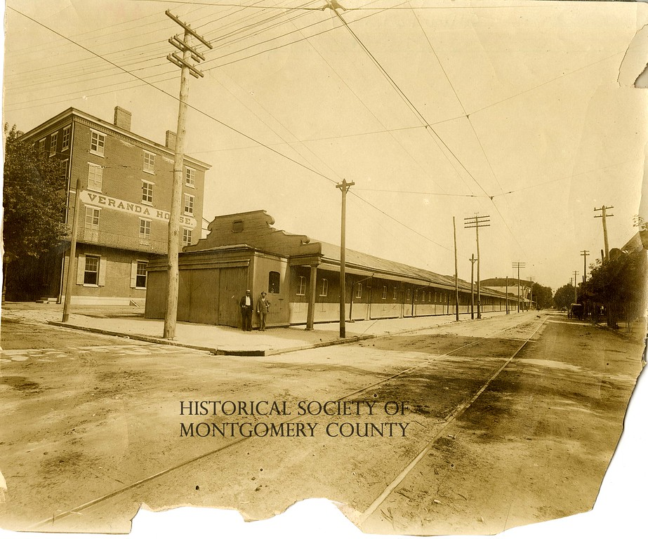 . This photo from the Historical Society of Montgomery County shows the Norristown Market in c. 1890. It is at the same location as the old Borough Hall at DeKalb and Airy streets.