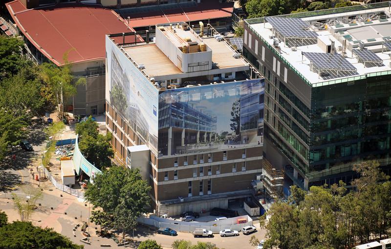 Photo of QUT L block, before structural demolition commences.