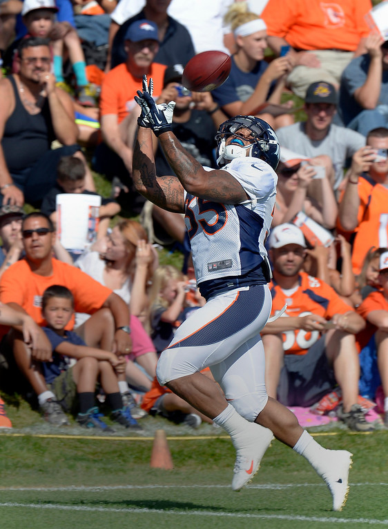 . Denver Broncos RB Lance Ball (35) catches a pass during training camp August 6, 2013 at Dove Valley. (Photo By John Leyba/The Denver Post)