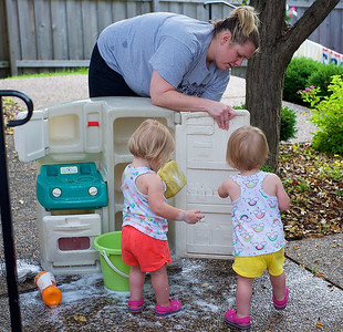 Elise and Annika Helping Mommy - June 22, 2014