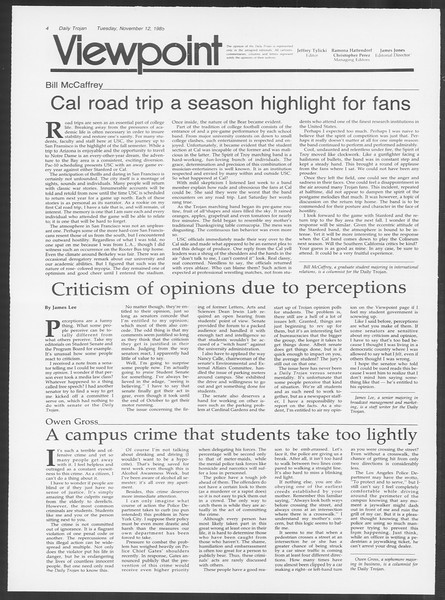 Daily Trojan, Vol. 100, No. 48, November 12, 1985