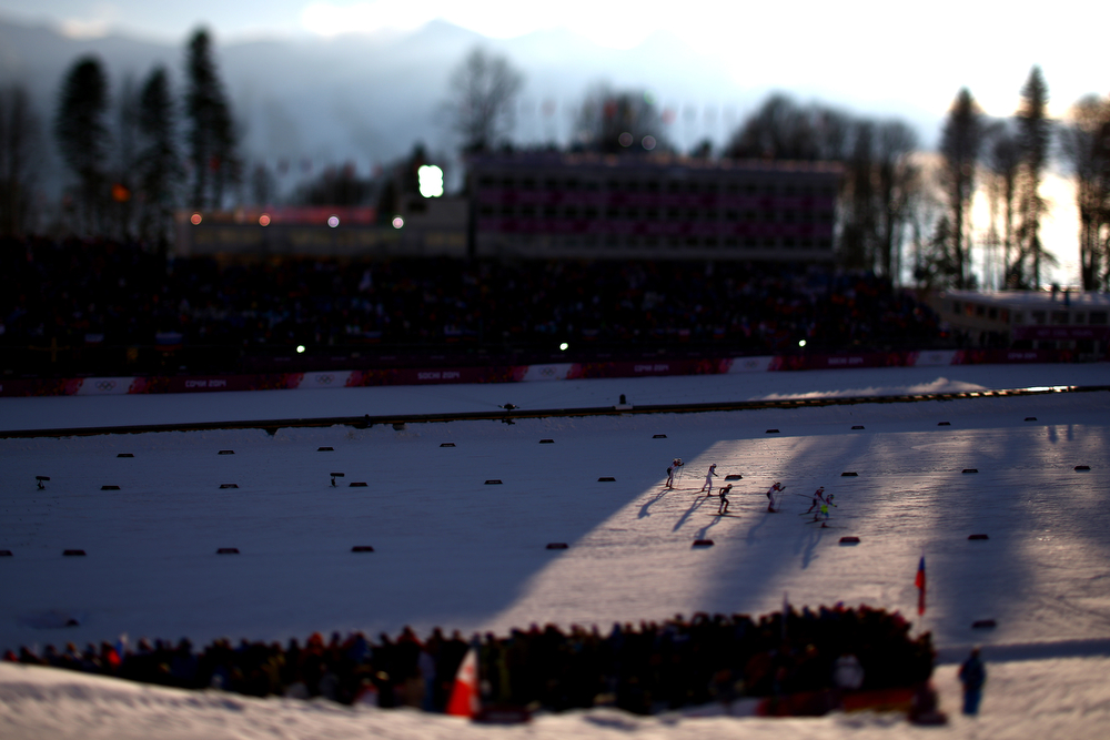 . (EDITORS NOTE: A TILT AND SHIFT LENS WAS USED IN THE CREATION OF THIS IMAGE) Skiers compete in Finals of the Ladies\' Sprint Free during day four of the Sochi 2014 Winter Olympics at Laura Cross-country Ski & Biathlon Center on February 11, 2014 in Sochi, Russia.  (Photo by Doug Pensinger/Getty Images)