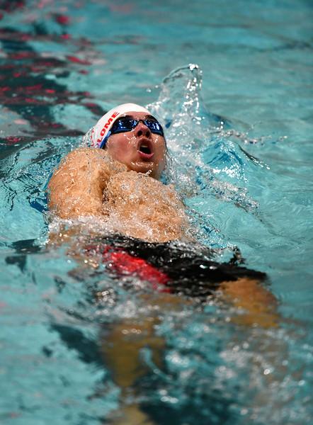 1/7/2020 Mike Orazzi   Staff Bristol swimmer Gabriel Bartolome in the 200 IM against Hall High School in Bristol.