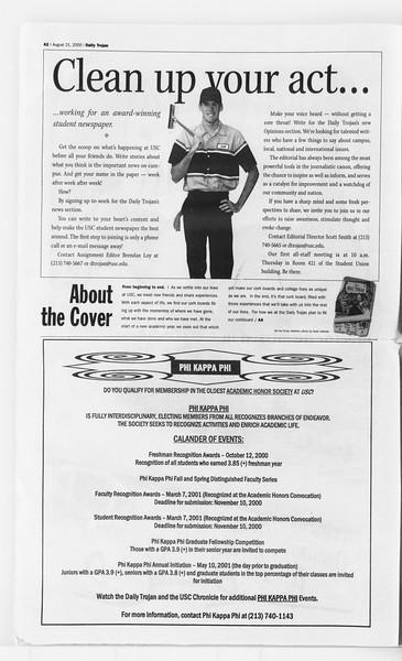 Daily Trojan, Vol. 141, No. 1, August 21, 2000
