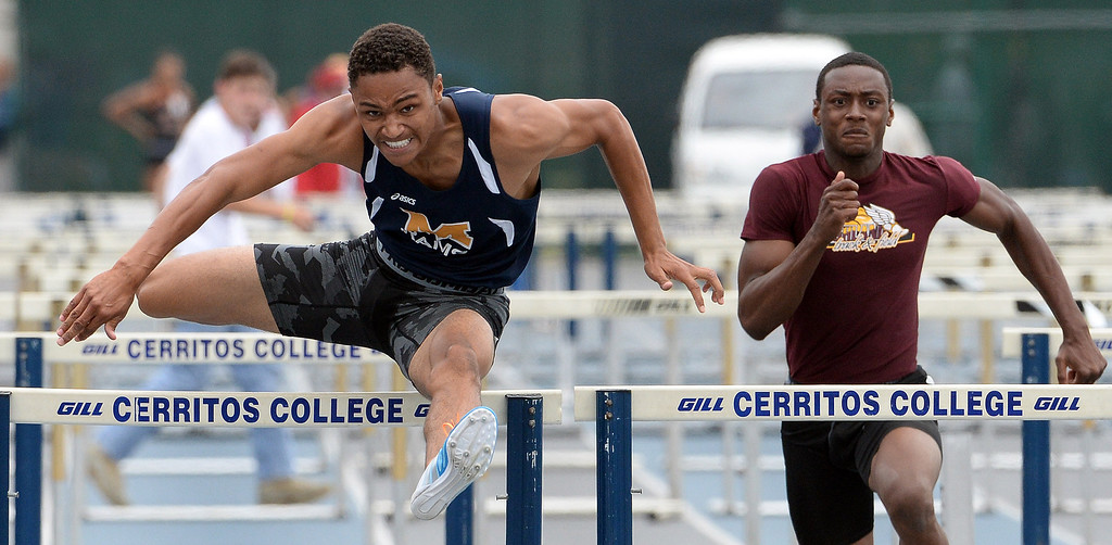 . Miklikan\'s Misana Viltz, left, wins the division 1 110 meter high hurdles during the CIF Southern Section track and final Championships at Cerritos College in Norwalk, Calif., Saturday, May 24, 2014.   (Keith Birmingham/Pasadena Star-News)