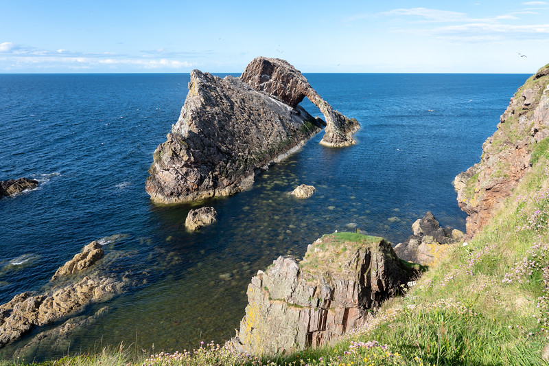 Bow Fiddle Rock in Moray, Scotland