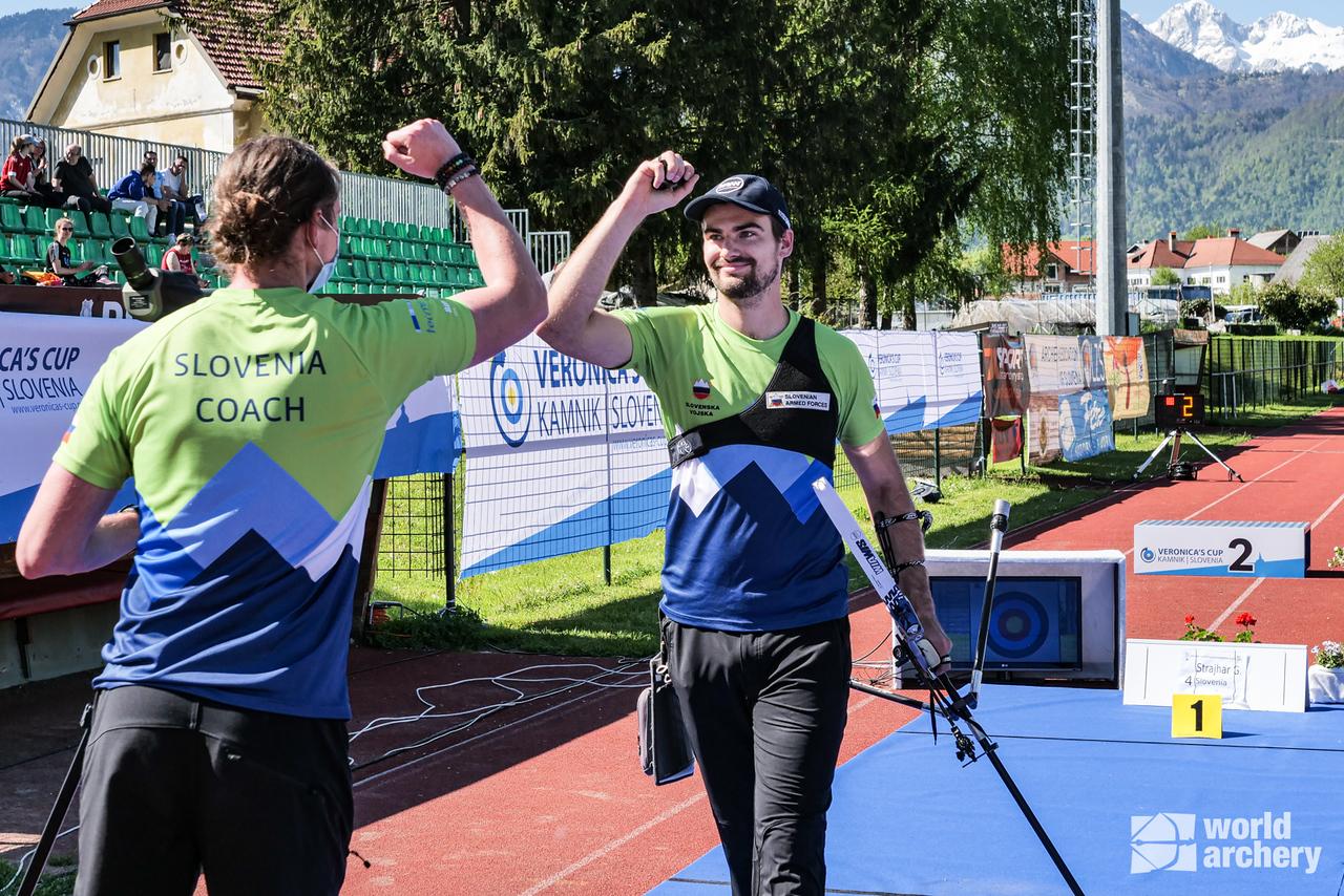 Gasper Strajhar celebrates during finals at the 2021 Veronica's cup in Kamnik, Slovenia.