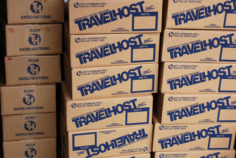 2/3/07	- Our first TRAVELHOST magazine was scheduled to be delivered today. They should have been delivered first thing in the morning but we ended up getting them around 10:00 pm – 8,500 copies. A large container of liquid used for laminating crafts had ruptured in the truck spilling 2,200 lbs of the gunk. It took hours to clean up the mess and they still couldn't use a pallet jack to roll our magazines off the truck. We ended up unloading them one case at a time. Fortunately the spill didn't damage any magazines.