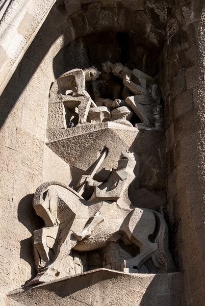 Sagrada Familia - Longinus piercing the Church - body of Christ