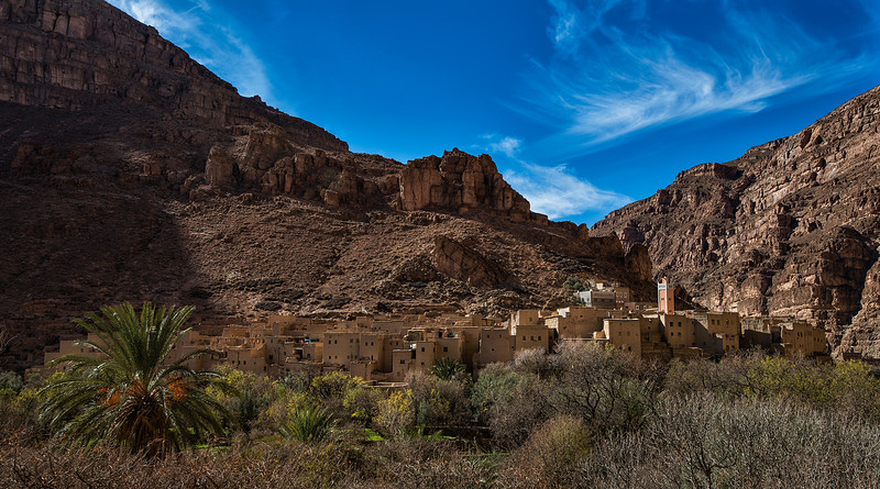 A small village up in the high Atlas mountains.  High Atlas, Morocco, 2018