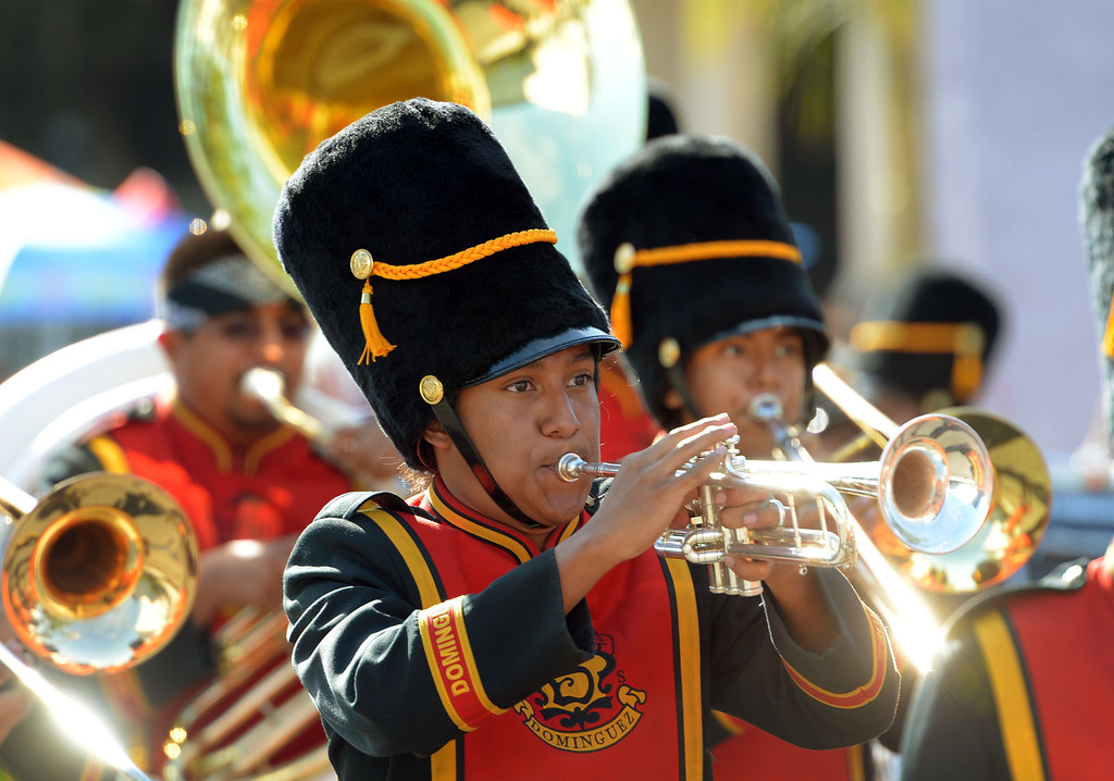 . The 26th Annual Martin Luther King, Jr., Peace & Unity Parade Saturday, January 18, 2014, Long Beach, CA.   No parade is complete without marching bands, like Dominguez High\'s. Photo by Steve McCrank/Daily Breeze