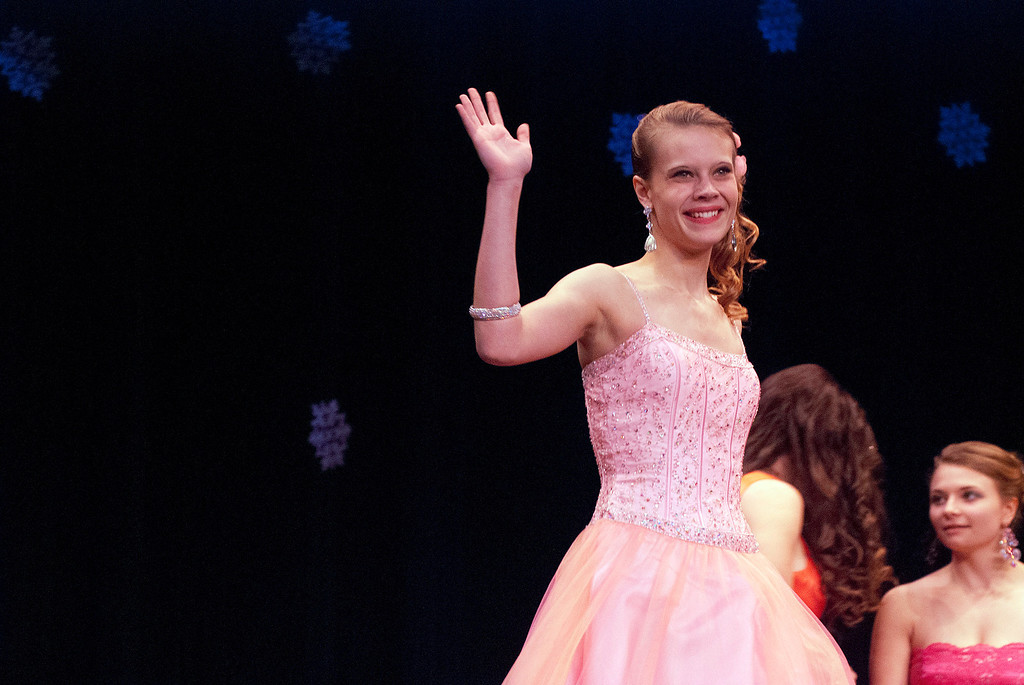 . Kayla Rice/Reformer Nicole Koziara walks the runway during the 2014 Brattleboro Winter Carnival\'s Queen\'s Pageant on Friday night.