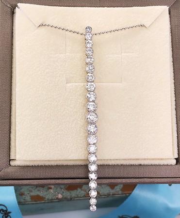 2.25ctw (est) Old European Cut Diamond Bar Pendant
