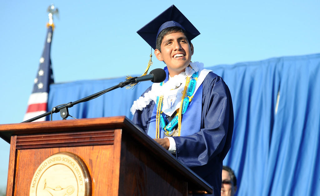 . Valedictorian Luis A. Apolaya Torres during the Montebello High School commencement at Montebello High School on Thursday, June 20, 2013 in Montebello, Calif.  (Keith Birmingham/Pasadena Star-News)