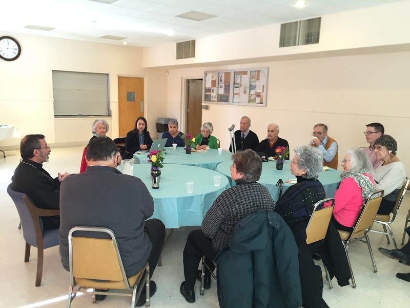 The Primate enjoying an intimate meeting with senior members of the Holy Trinity parish on Saturday afternoon, March 18.