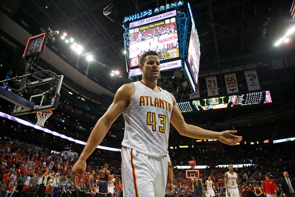 . Atlanta Hawks forward Kris Humphries (43) walks off the court at the half against the Cleveland Cavaliers in the first half of Game 3 of the second-round NBA basketball playoff series, Friday, May 6, 2016, in Atlanta. (AP Photo/John Bazemore)