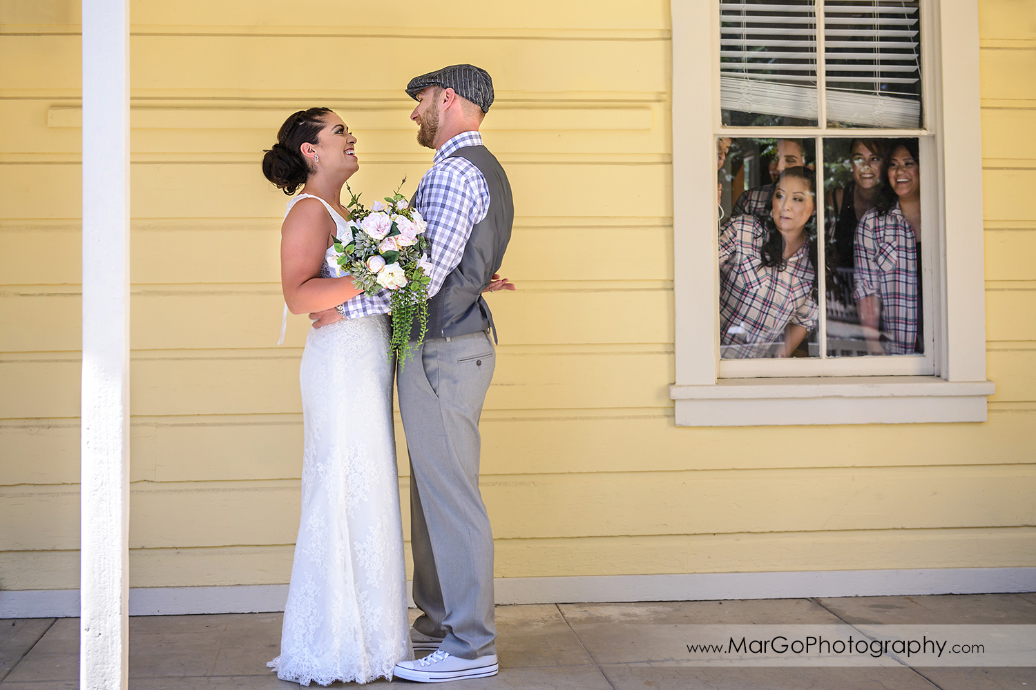 first look with bridesmaids at Picchetti Winery in Cupertino