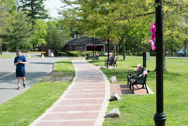05/6/19 Wesley Bunnell | Staff Pink ribbons decorate benches and light poles in Walnut Hill Park in advance of the CT Breast Health Initiative's Race in the Park.