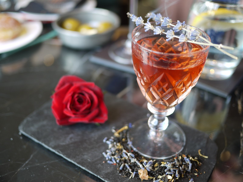 Queen's 90th celebration cocktail involving gin, Dubonnet, Earl Grey syrup and lavender