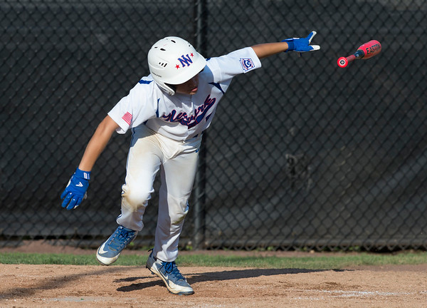 08/05/19 Wesley Bunnell | Staff New York Haverstraw Little League defeated Delewar's Neward National Little League Monday evening at Breen Field in Bristol. Joey Papili (5).