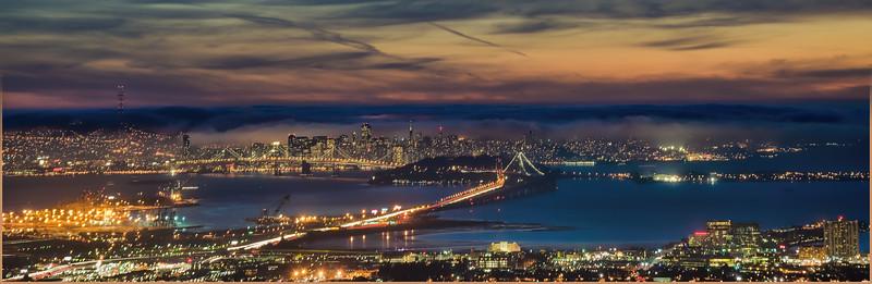 Sunset on the old Bay Bridge