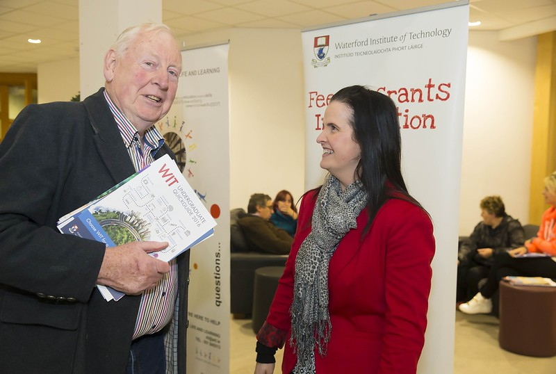23/02/2016. Free To Use Image. Pictured at WIT (Waterford Institute Of Technology) Adult Learner Information Evening are Tom Boyle, Ramsgrange, Co. Wexford and Lorraine Flood WIT. Picture: Patrick Browne