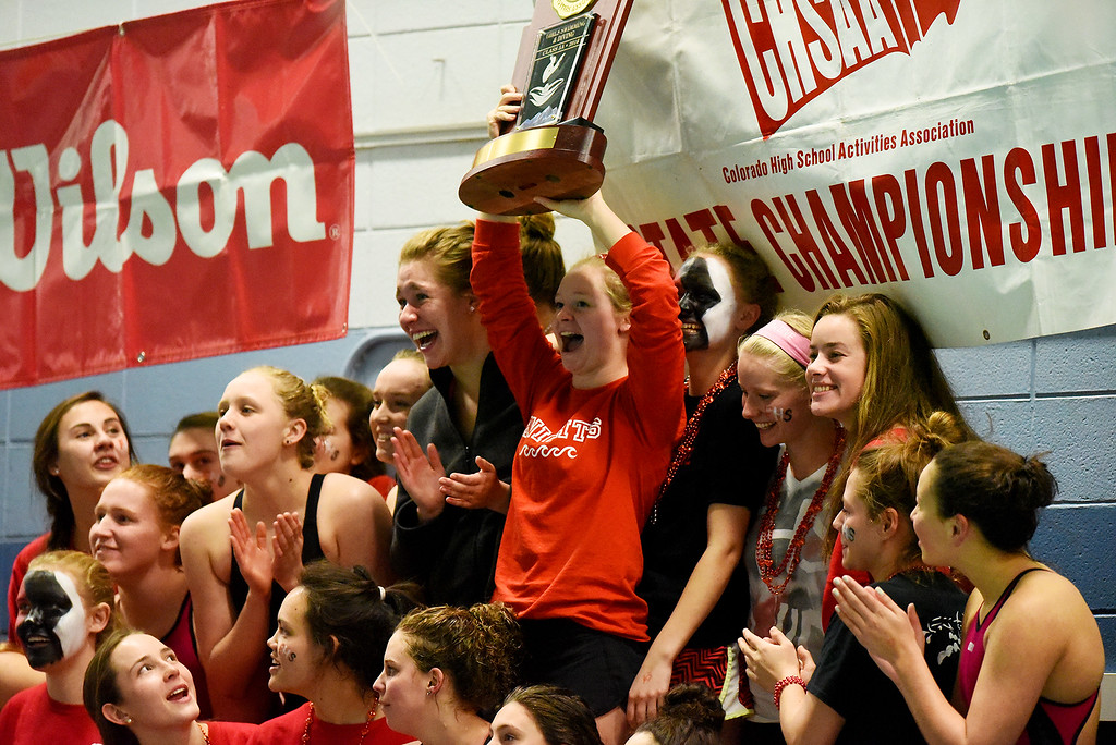 . Fairview celebrates their state title at girls 5A State Swim meet held at Edora Pool and Ice Center on Saturday. (Photo by Kira Horvath/ The Denver Post)