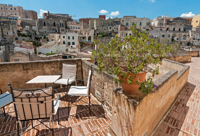 View of Sassi Houses from Hotel Balcony, Matera, Basilicata, Italy
