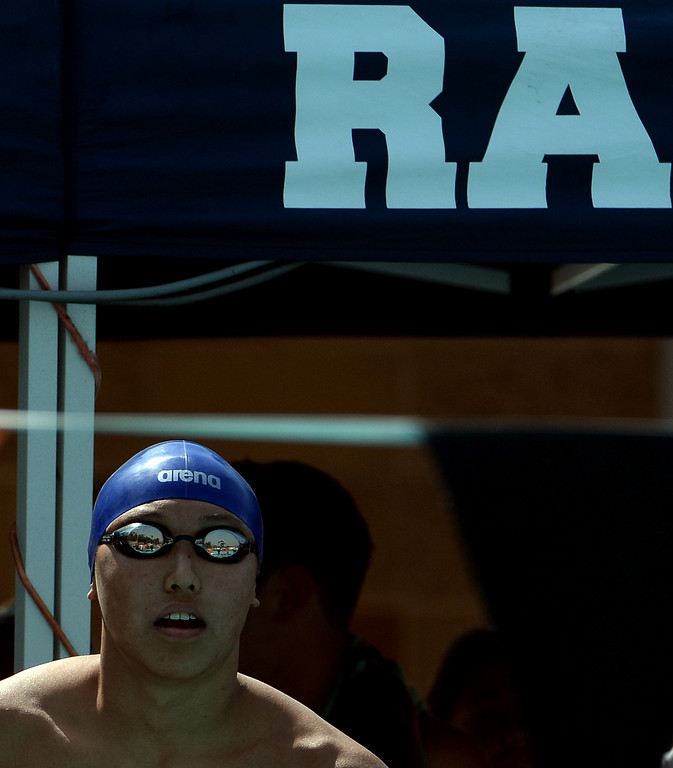 . Rowland\'s Michael Wang prepares for the 200 yard freestyle during the Division 2 CIF Southern Section Swimming Championships in the Riverside Aquatics Complex at Riverside City College in Riverside, Calif., on Saturday, May 17, 2014.  (Keith Birmingham/Pasadena Star-News)