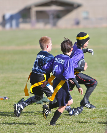 3rd 4th & 5th Grade Outlaws Flag Football  Chargers vs Ravens 12-27-12