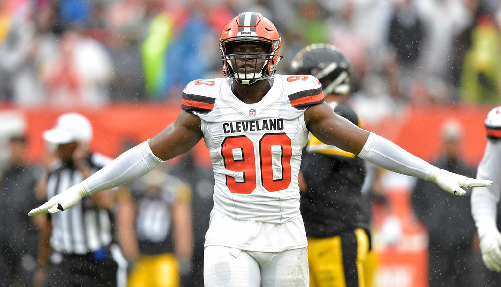 . Cleveland Browns defensive end Emmanuel Ogbah celebrates after an incomplete pass during the first half of an NFL football game against the Pittsburgh Steelers, Sunday, Sept. 9, 2018, in Cleveland. (AP Photo/David Richard)