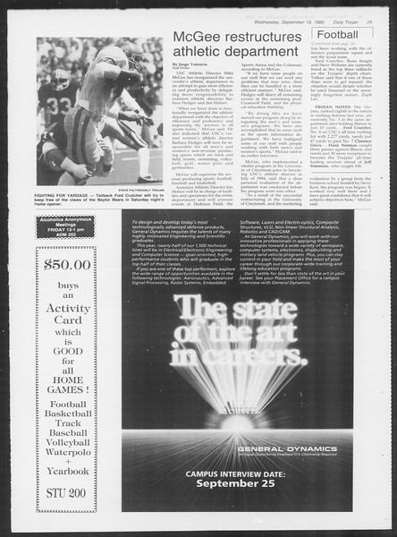 Daily Trojan, Vol. 100, No. 12, September 18, 1985