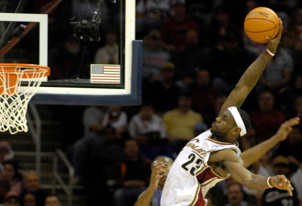 . Maribeth Joeright/MJoeright@News-Herald.com Cavaliers forward LeBron James goes up for the slam dunk in second quarter Sunday against the Phoenix Suns at  Quicken Loans Arena.