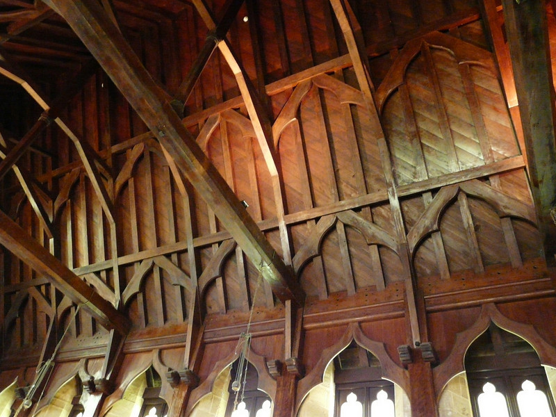 Sunday - Interior roof of St Barnabas Chapel - constructed of Norfolk Pine.