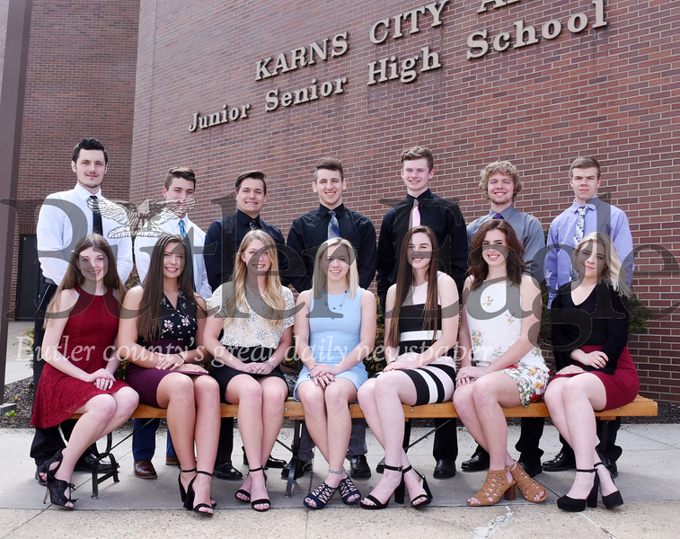 Harold Aughton/Butler Eagle: Karns City High School will crown its prom king and queen May 3 at the Butler Country Club. The theme is A Red Carpet Affair. The prom court is, back row, from left Master of Ceremonies, Brayden Edwards; king candidates Hunter Jones, Joshua Wimer, Trey Albert, Jacob Weckerly, Tyler Yough and junior prince, Corry Dunmyre. The front row includes: Mistress of Ceremonies Abigail MacKrell; queen candidates, Rayna Miller, Kailyn Behrens, Alyssa Stitt, Emily Wolfe, Maura King and junior princess Josephine Bailey.