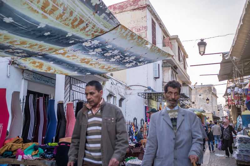 People and shops on the Medina streets, Rabat, Morocco