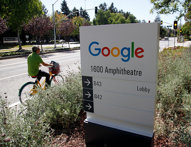 Google's new logo on display in Mountain View