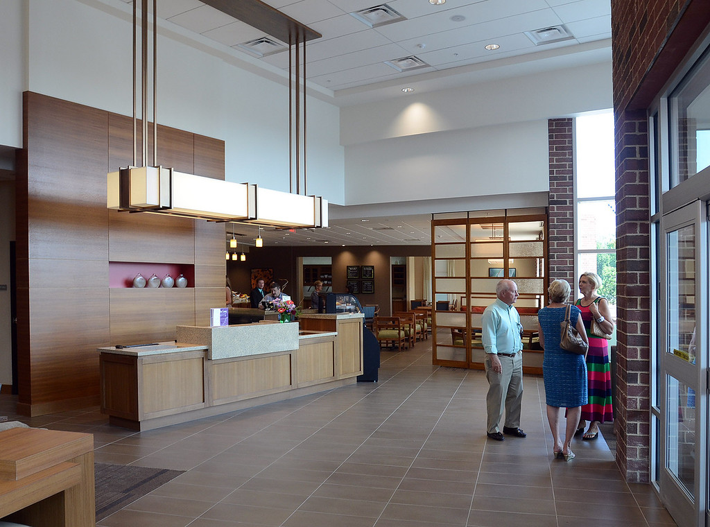 . The lobby of the new Hyatt Place hotel, connected to the Suburban Collection Showplace in Novi, during their grand opening today, Tuesday August 20, 2013. (Oakland Press Photo:Vaughn Gurganian)